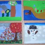 kreative kinderarbeiten, kinder malen für oma und opa